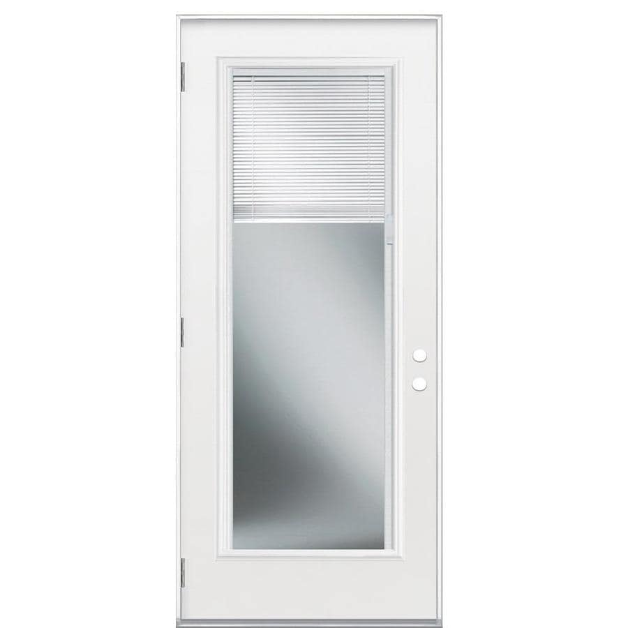 Masonite Flush Insulating Core Blinds Between The Glass Full Lite Right-Hand Outswing Primed Fiberglass Primed Prehung Entry Door (Common: 32-in x 80-in; Actual: 33.5-in x 80.375-in)