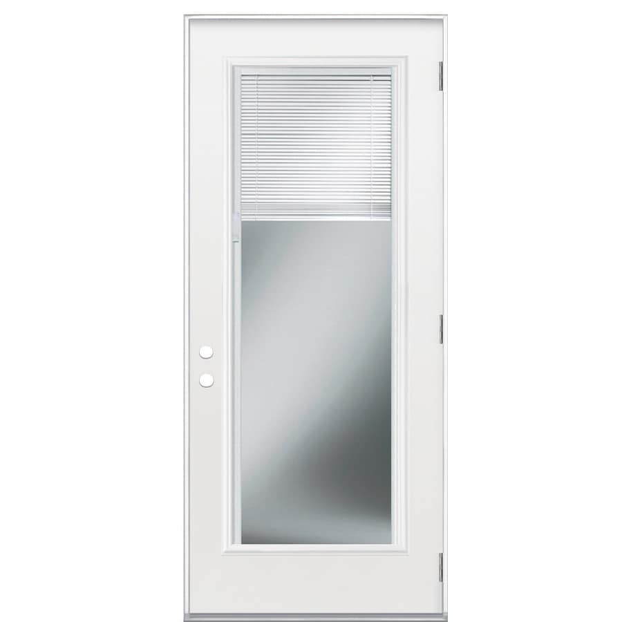 Shop Masonite Full Lite Blinds Between The Glass Left Hand Outswing Primed Fiberglass Entry Door