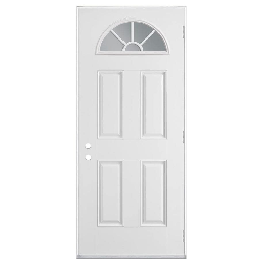 Masonite 4-Panel Insulating Core Fan Lite Left-Hand Outswing Primed Fiberglass Primed Prehung Entry Door (Common: 32-in x 80-in; Actual: 33.5-in x 80.375-in)