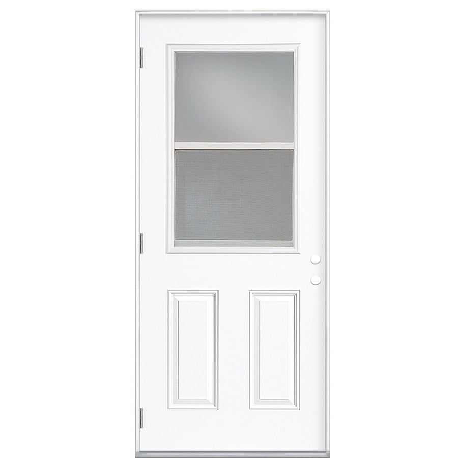 Masonite Decorative Glass Right-Hand Outswing Fiberglass Primed Entry Door (Common: 32-in x 80-in; Actual: 33.5-in x 80.375-in)
