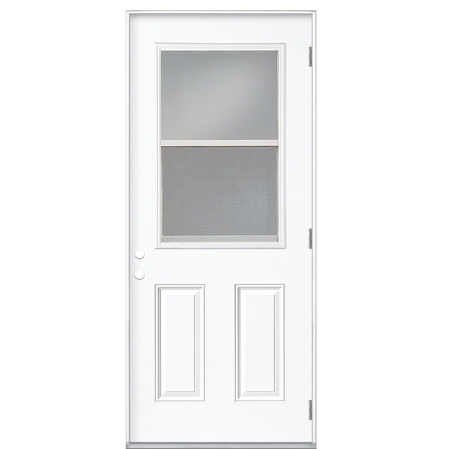 Masonite 2-Panel Insulating Core Vented Glass with Screen Left-Hand Outswing Primed Fiberglass Primed Prehung Entry Door (Common: 32-in x 80-in; Actual: 33.5-in x 80.375-in)
