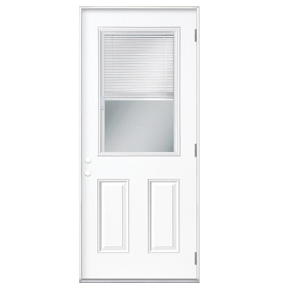 Masonite 2-Panel Insulating Core Blinds Between The Glass Half Lite Left-Hand Outswing Primed Fiberglass Primed Prehung Entry Door (Common: 36-in x 80-in; Actual: 37.5-in x 80.375-in)