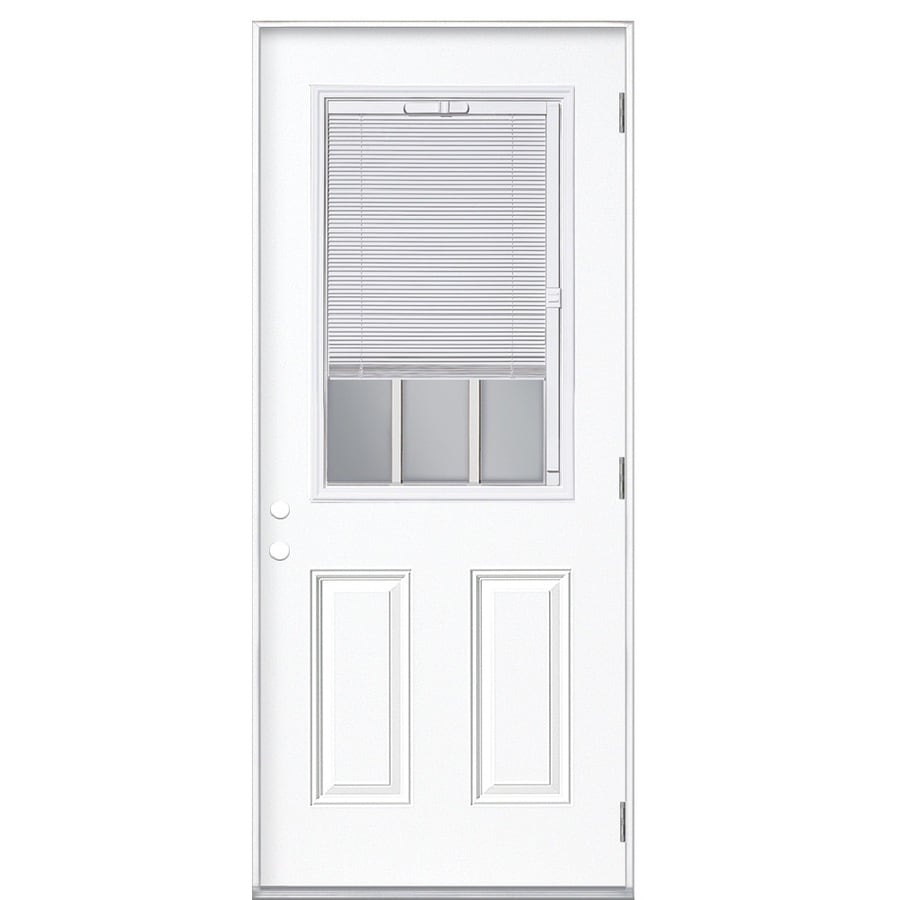 Masonite 2-Panel Insulating Core Blinds and Grilles Between The Glass Half Lite Left-Hand Outswing Primed Fiberglass Primed Prehung Entry Door (Common: 32-in x 80-in; Actual: 33.5-in x 80.375-in)