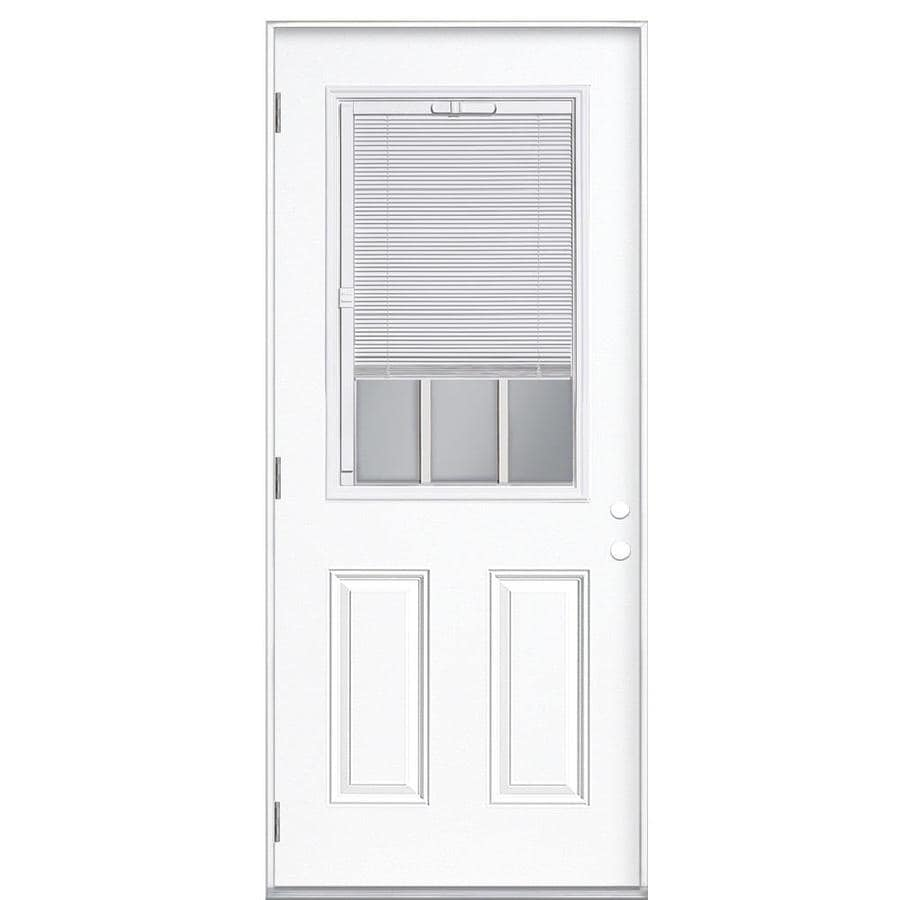 Masonite 2-Panel Insulating Core Blinds and Grilles Between The Glass Half Lite Right-Hand Outswing Primed Fiberglass Primed Prehung Entry Door (Common: 32-in x 80-in; Actual: 33.5-in x 80.375-in)
