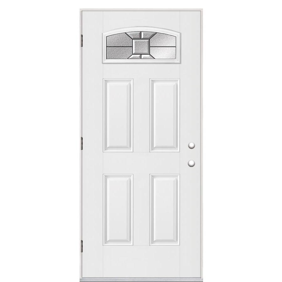 Masonite Hancock 4-panel Insulating Core Morelight Right-Hand Outswing Fiberglass Primed Prehung Entry Door (Common: 36-in x 80-in; Actual: 37.5-in x 80.375-in)