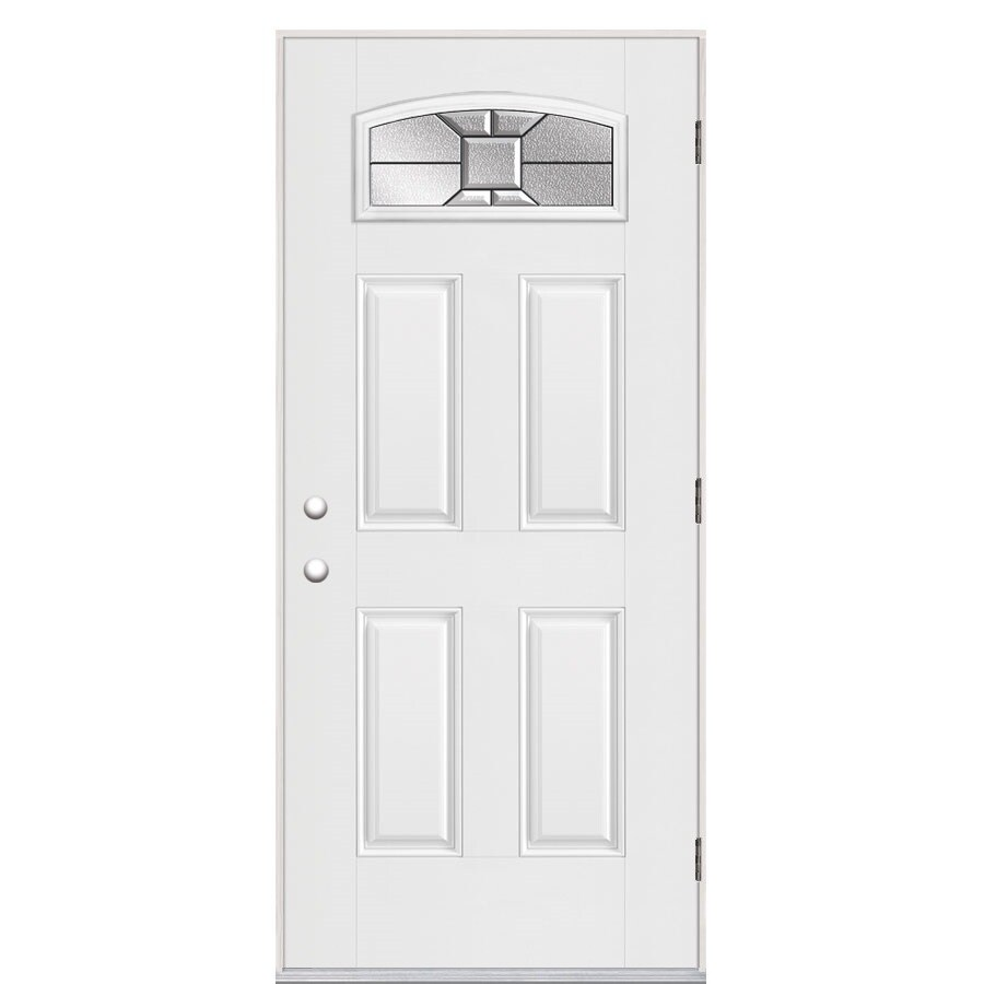 Masonite Hancock Decorative Glass Left-Hand Outswing Primed Fiberglass Prehung Entry Door with Insulating Core (Common: 36-in x 80-in; Actual: 37.5-in x 80.375-in)