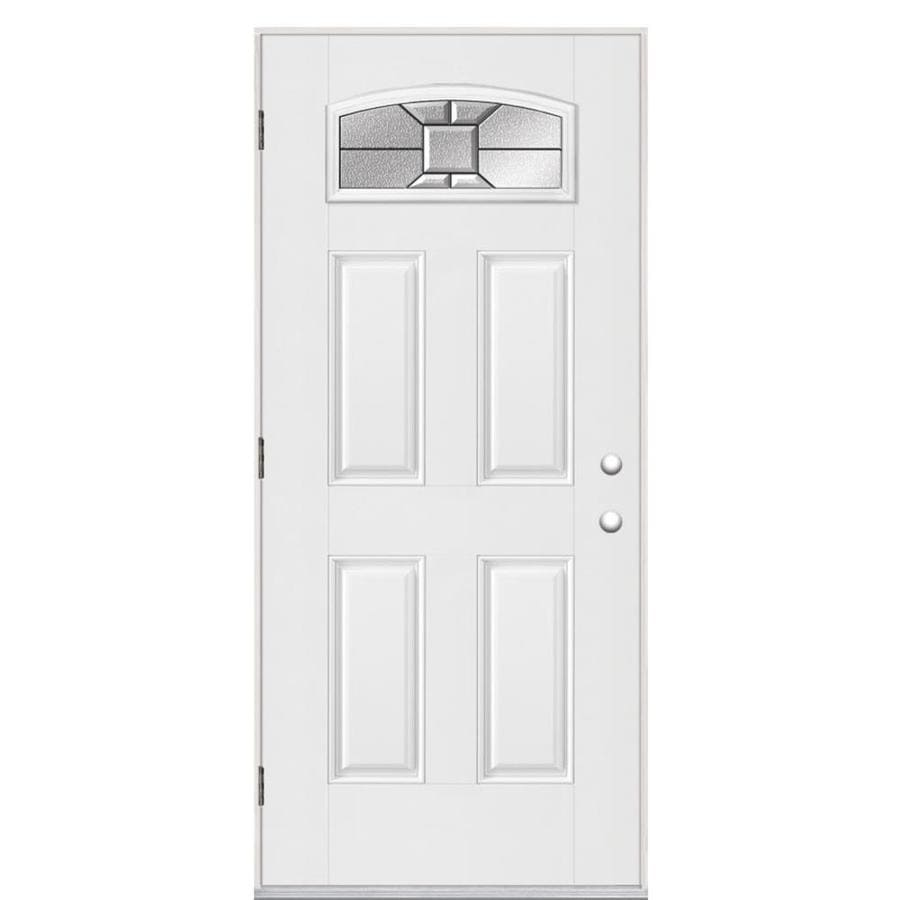 Masonite Hancock 4-Panel Insulating Core Morelight Right-Hand Outswing Primed Fiberglass Primed Prehung Entry Door (Common: 36-in x 80-in; Actual: 37.5-in x 80.375-in)
