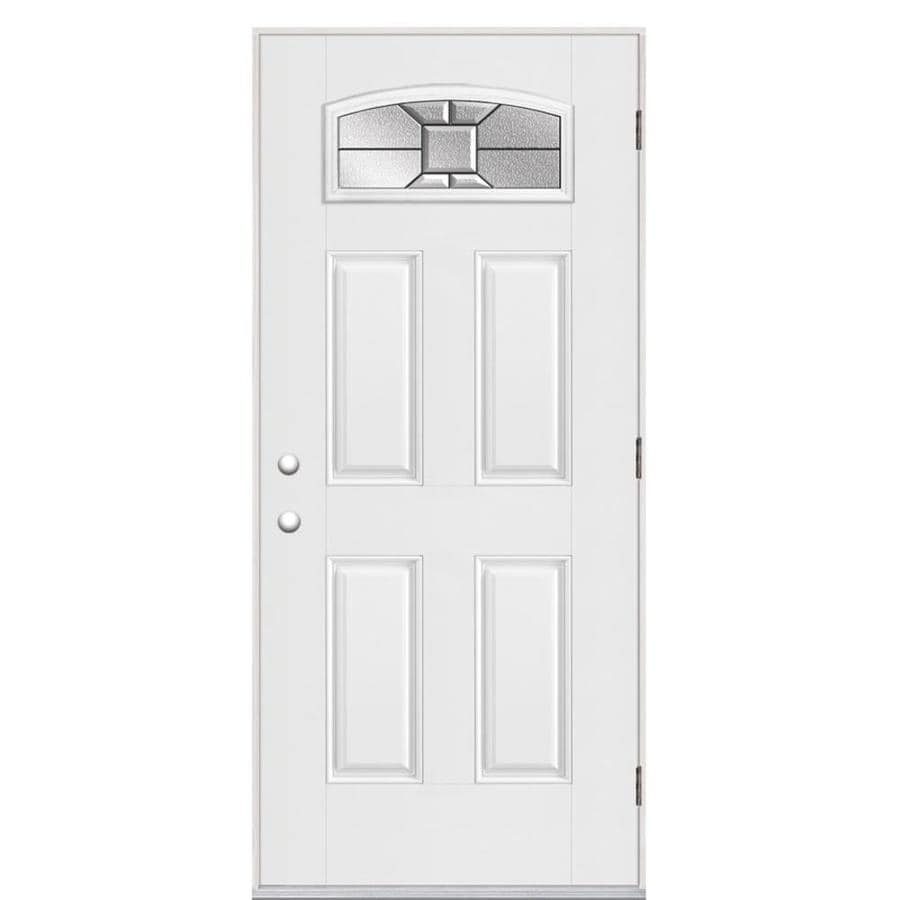 Masonite Hancock 4-panel Insulating Core Morelight Left-Hand Outswing Fiberglass Primed Prehung Entry Door (Common: 36-in x 80-in; Actual: 37.5-in x 80.375-in)