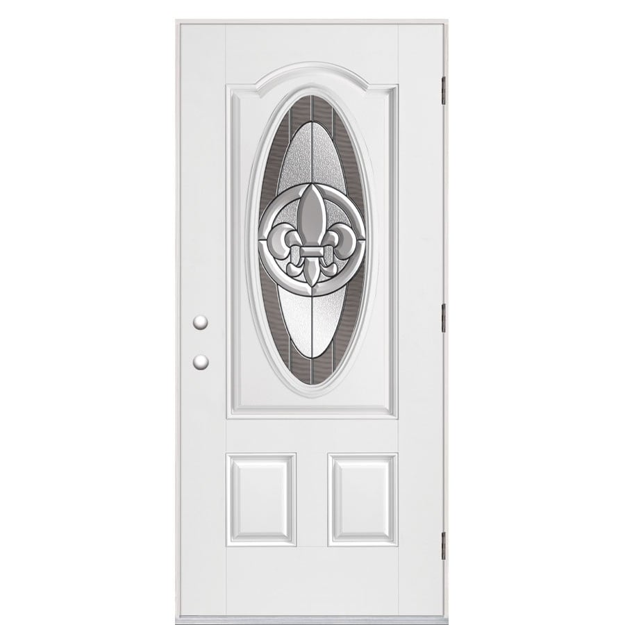 Masonite Fleur De Lis Oval Lite Decorative Gl Left Hand Outswing Primed Fibergl Prehung Entry