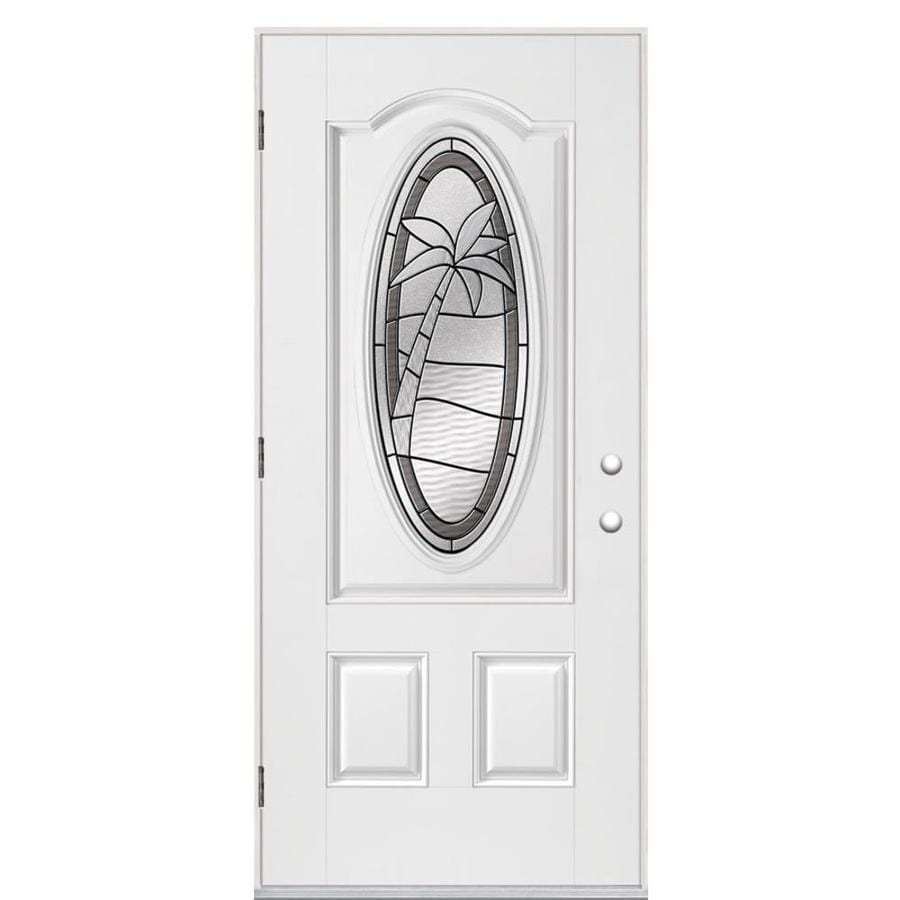 Masonite Palm Tree Decorative Glass Right-Hand Outswing Primed Fiberglass Prehung Entry Door with Insulating Core (Common: 36-in x 80-in; Actual: 37.5-in x 80.375-in)