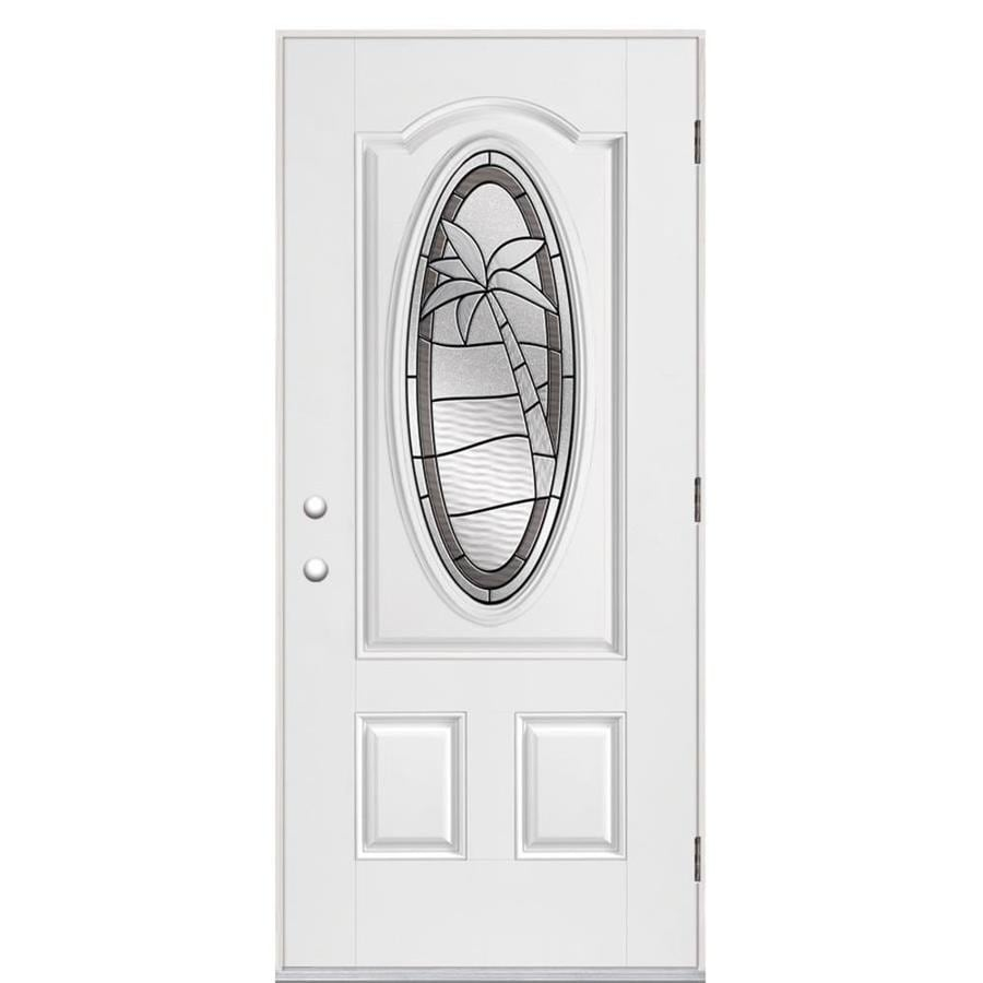 Masonite Palm Tree 2-panel Insulating Core Oval Lite Left-Hand Outswing Fiberglass Primed Prehung Entry Door (Common: 36-in x 80-in; Actual: 37.5-in x 80.375-in)