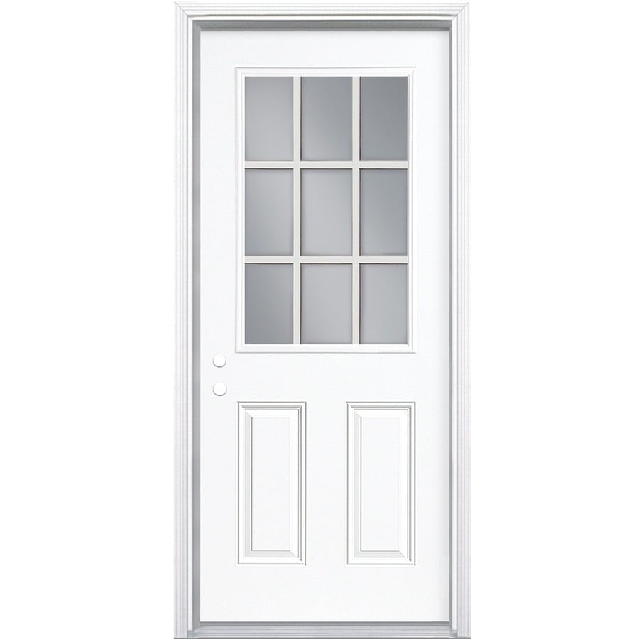 Masonite Half Lite External Grille Right Hand Inswing Primed Steel Prehung Entry Door With Insulating