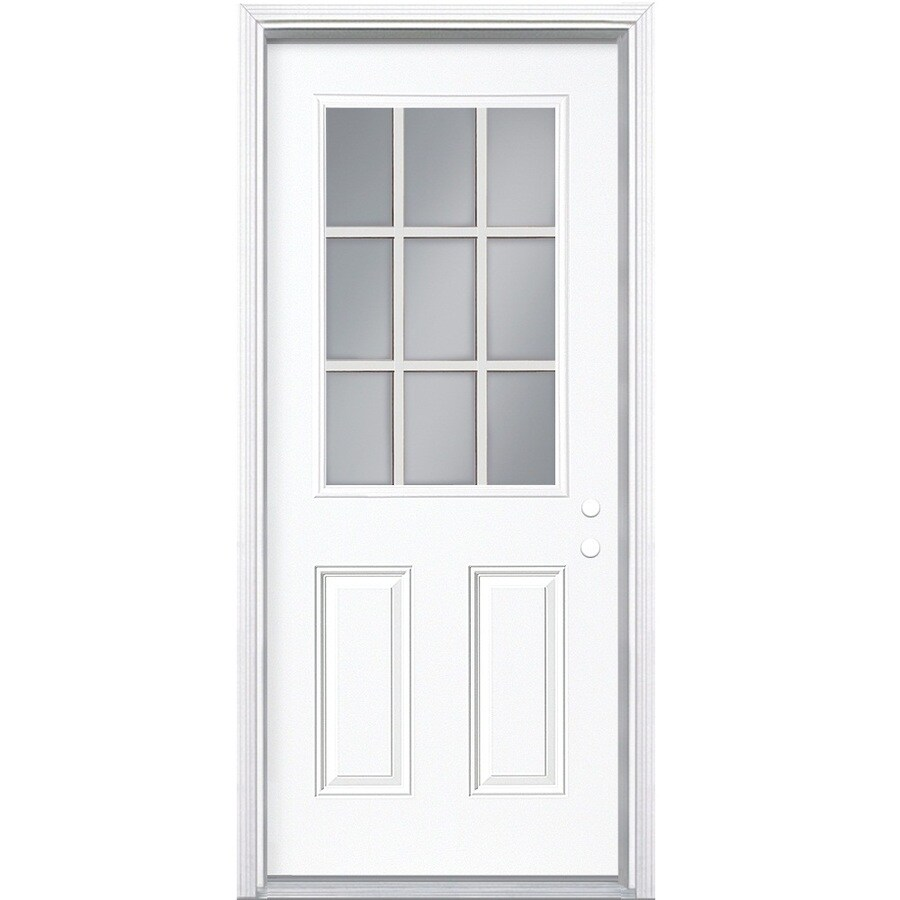 Shop masonite 2 panel insulating core 9 lite left hand for Metal entry doors