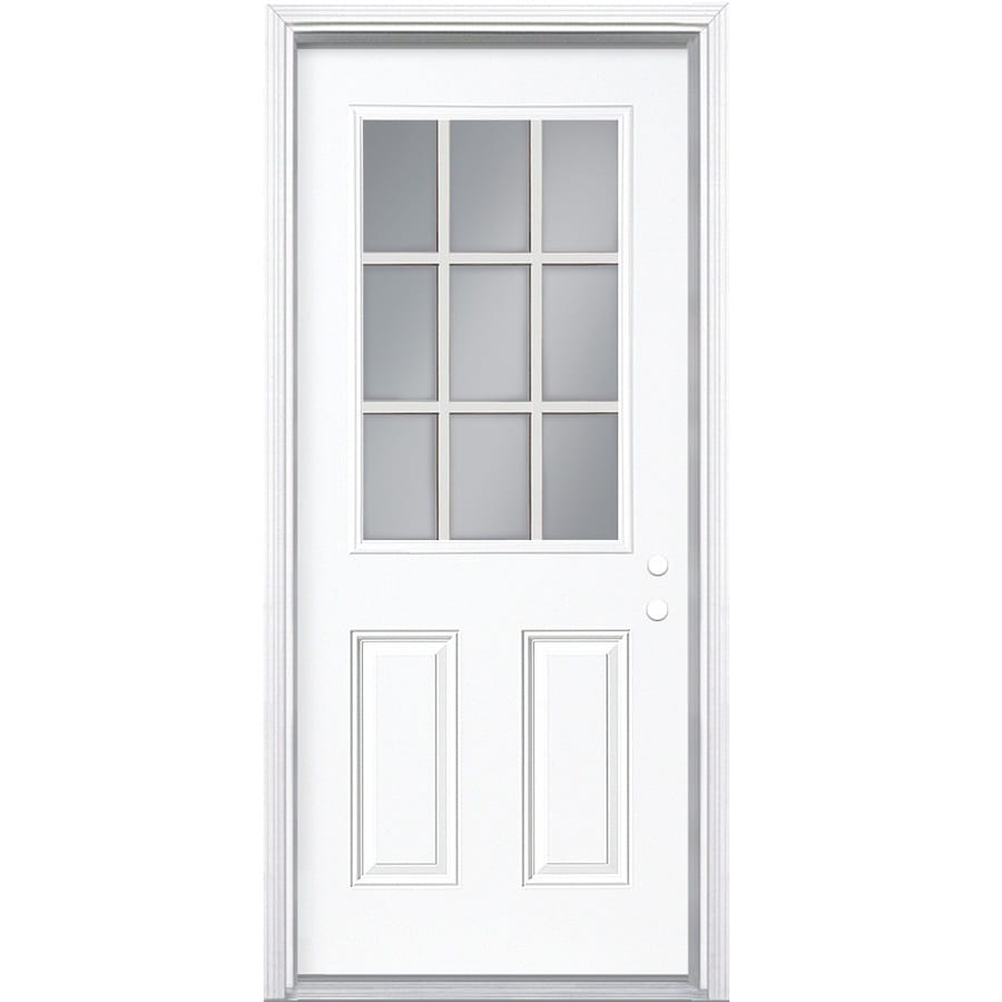 Shop masonite decorative glass left hand inswing steel for Metal entry doors