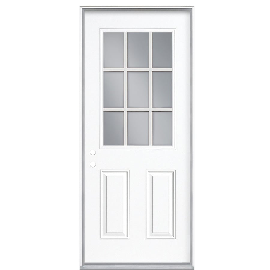 Masonite 2-panel Insulating Core 9-lite Right-Hand Inswing Steel Primed Prehung Entry Door (Common: 32-in x 80-in; Actual: 33.5-in x 81.5-in)