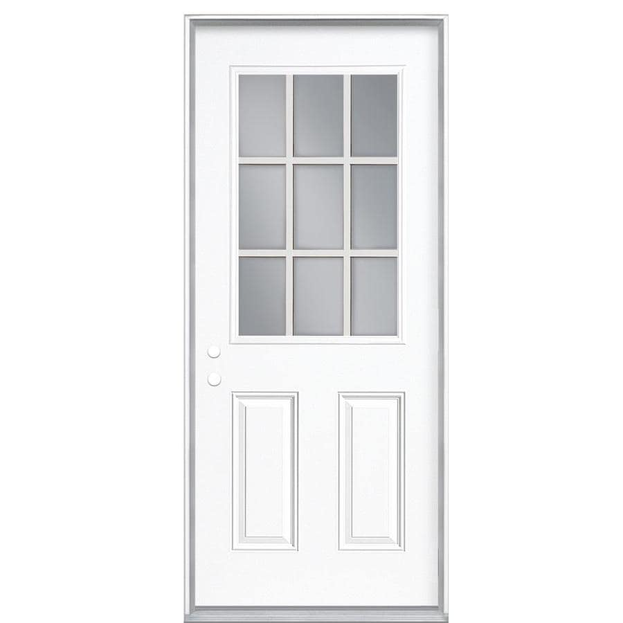 Masonite 2-panel Insulating Core 9-lite Right-Hand Inswing Steel Primed Prehung Entry Door (Common: 36-in x 80-in; Actual: 37.5000-in x 81.5000-in)