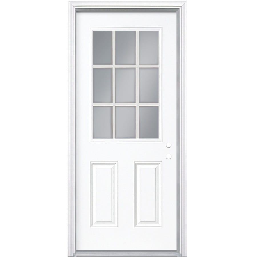Masonite 2-panel Insulating Core 9-lite Left-Hand Inswing Steel Primed Prehung Entry Door (Common: 36-in x 80-in; Actual: 37.5000-in x 81.5000-in)