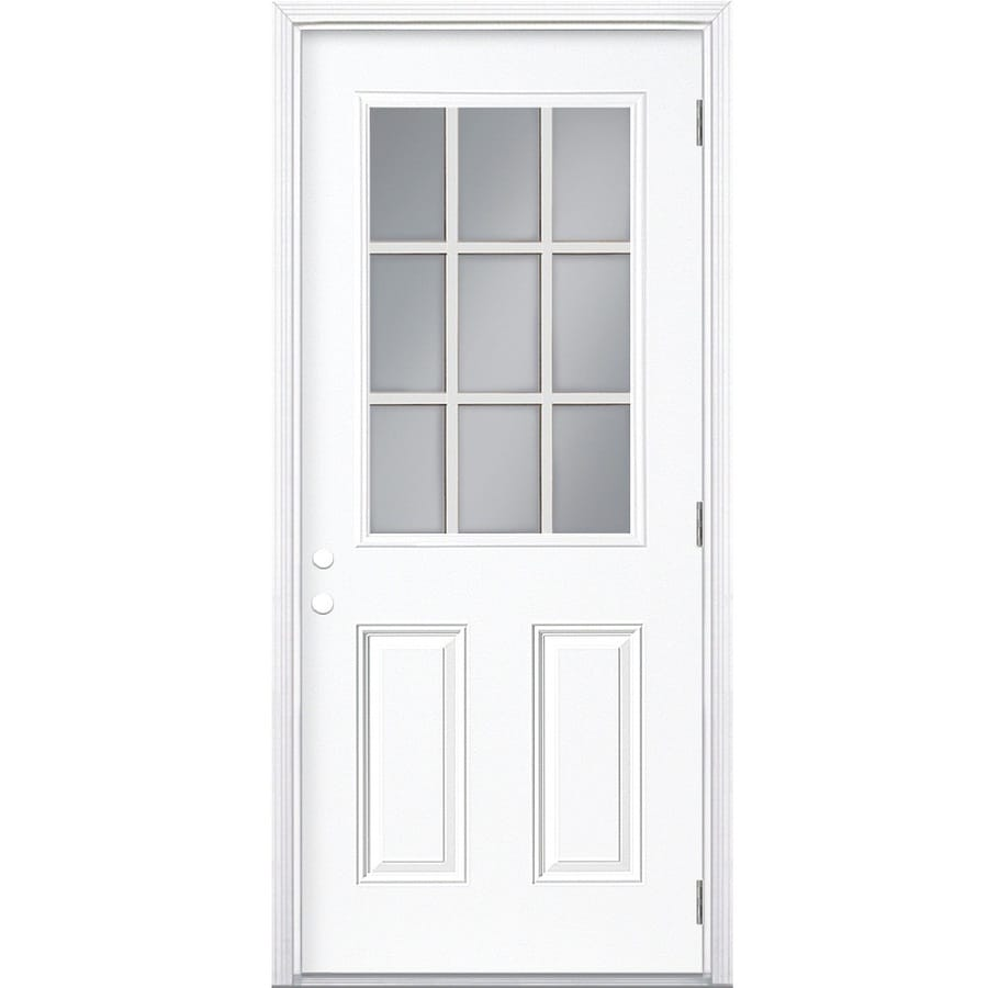 Masonite 2-Panel Insulating Core 9-Lite Left-Hand Outswing Steel Primed Prehung Entry Door (Common: 32-in x 80-in; Actual: 33.5-in x 80.375-in)