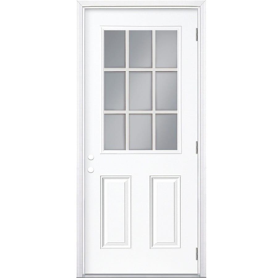 Masonite 2-panel Insulating Core 9-lite Left-Hand Outswing Steel Primed Prehung Entry Door (Common: 36-in x 80-in; Actual: 37.5000-in x 80.3750-in)