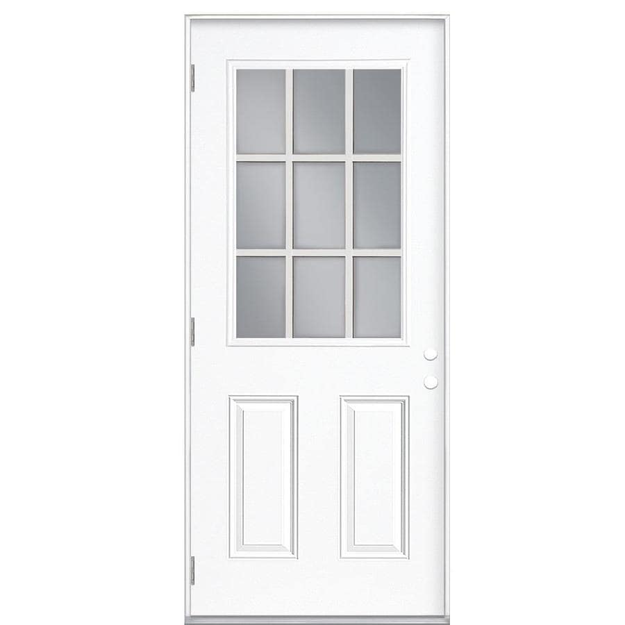 Shop masonite decorative glass right hand outswing steel for Steel entry doors