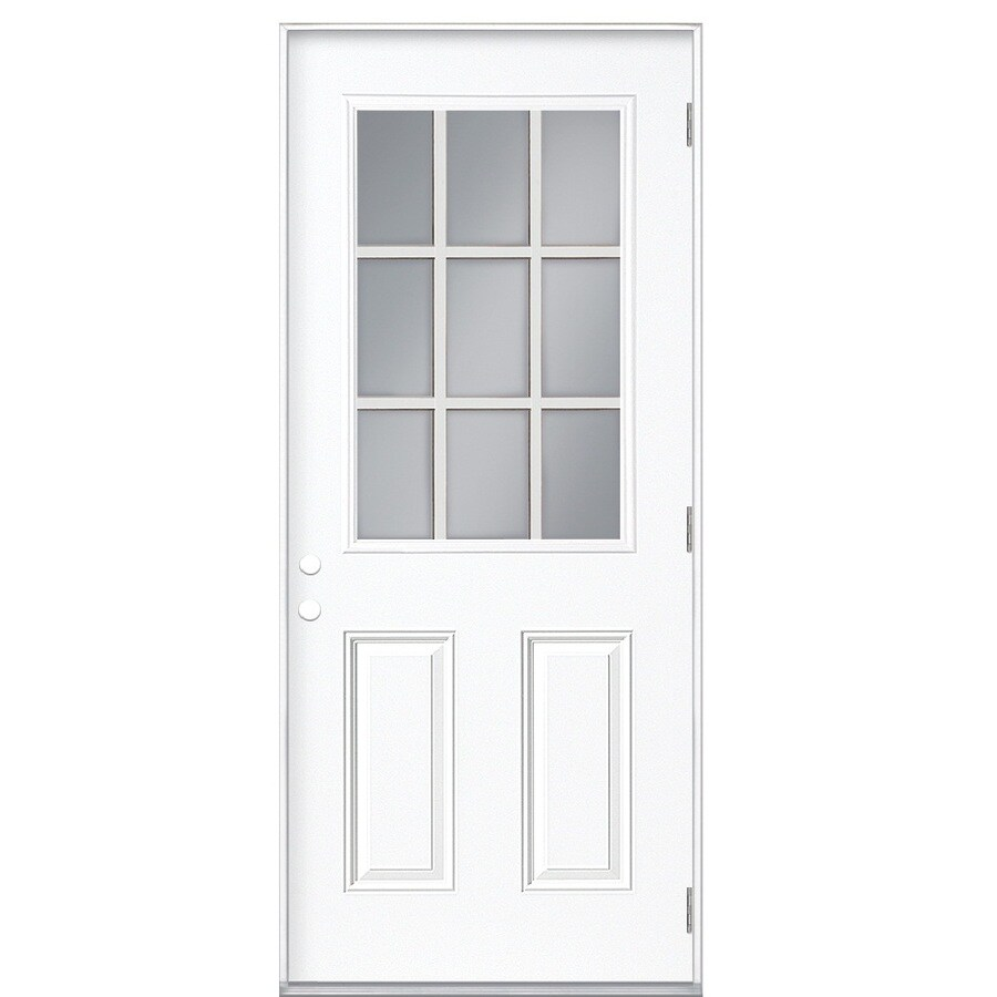Shop Masonite 2 Panel Insulating Core 9 Lite Left Hand Outswing Steel Primed Prehung Entry Door