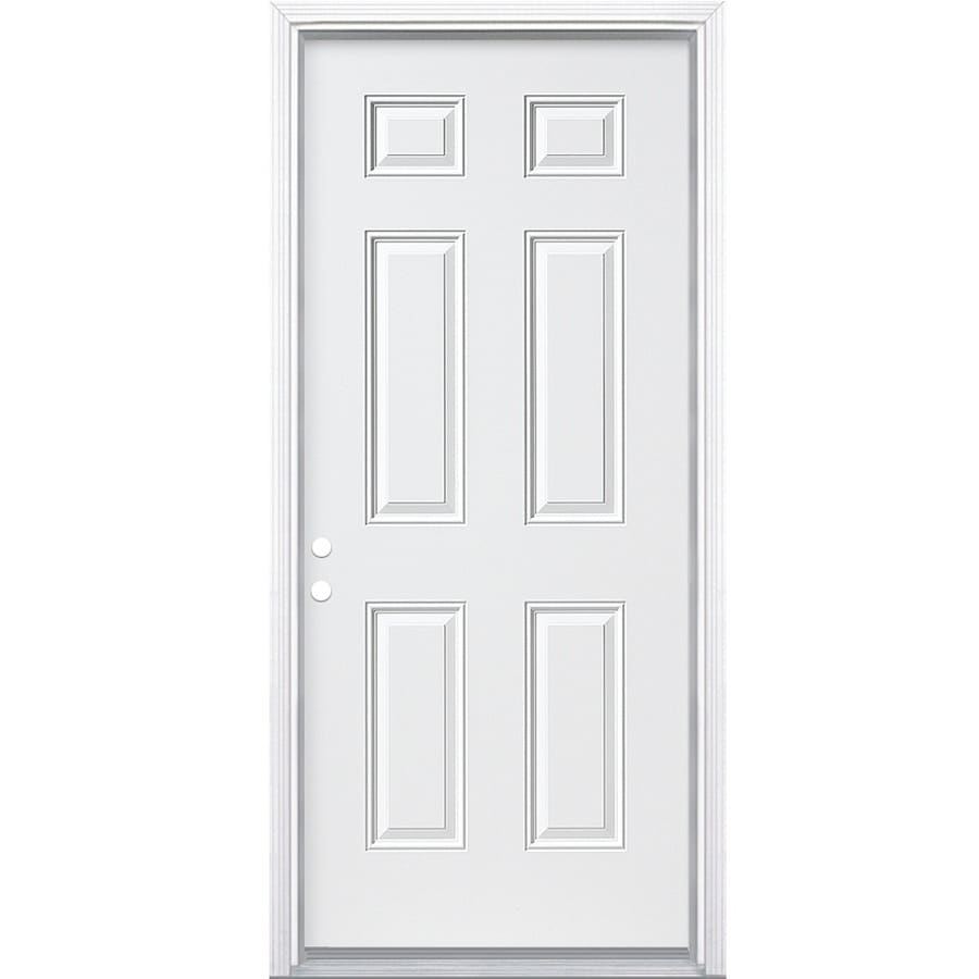 Shop masonite decorative glass right hand inswing primed for Exterior double doors lowes