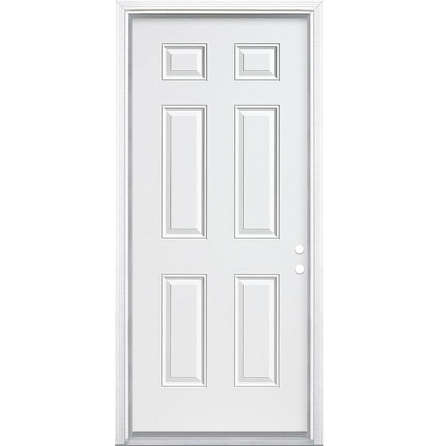 Masonite 6-Panel Insulating Core Left-Hand Inswing Primed Steel Primed Prehung Entry Door (Common: 34-in x 80-in; Actual: 35.5-in x 81.5-in)