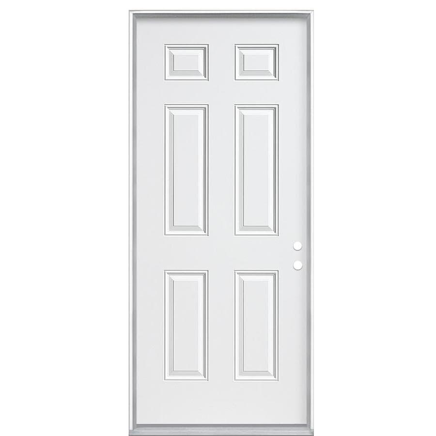 Masonite 6-Panel Insulating Core Left-Hand Inswing Steel Primed Prehung Entry Door (Common: 32-in x 80-in; Actual: 33.5-in x 81.5-in)