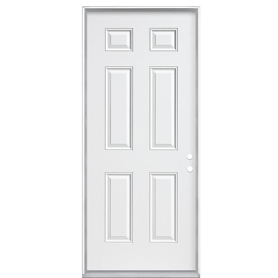 Masonite 6-panel Insulating Core Left-Hand Inswing Steel Primed Prehung Entry Door (Common: 36-in x 80-in; Actual: 37.5-in x 81.5-in)