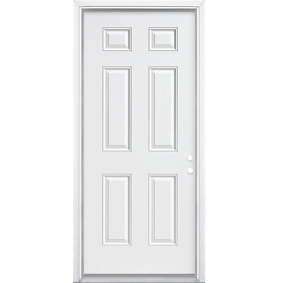 Masonite 6-panel Insulating Core Left-Hand Inswing Steel Primed Prehung Entry Door (Common: 32-in x 78-in; Actual: 33.5000-in x 79.5000-in)