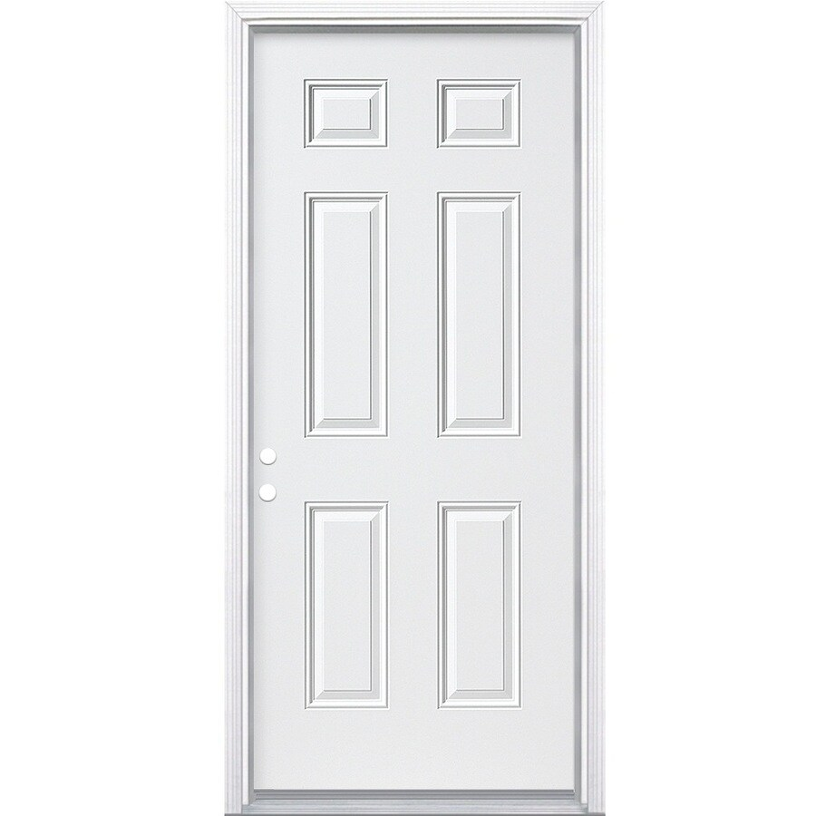 Masonite 6-Panel Insulating Core Right-Hand Inswing Steel Primed Prehung Entry Door (Common: 36-in x 78-in; Actual: 37.5-in x 79.5-in)