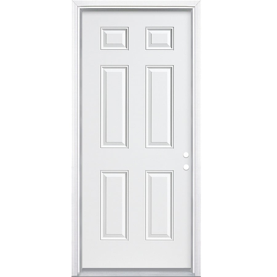 Masonite 6-panel Insulating Core Left-Hand Inswing Steel Primed Prehung Entry Door (Common: 32-in x 80-in; Actual: 33.5000-in x 81.5000-in)