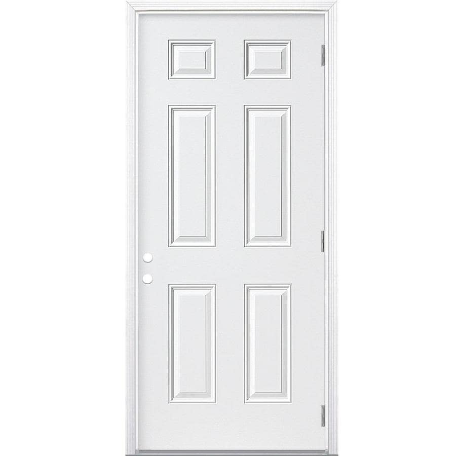 Masonite 6-Panel Insulating Core Left-Hand Outswing Steel Primed Prehung Entry Door (Common: 36-in x 80-in; Actual: 37.5-in x 80.375-in)
