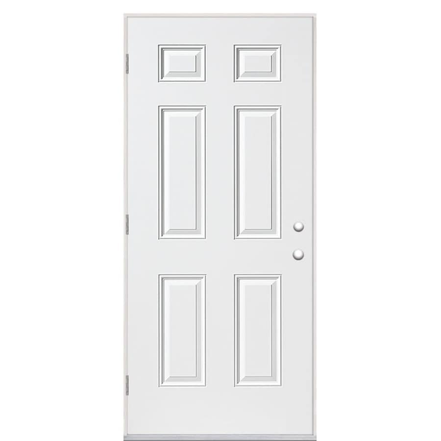 Masonite right hand outswing primed steel prehung entry door with insulating core common 36 in 36 x 80 outswing exterior door