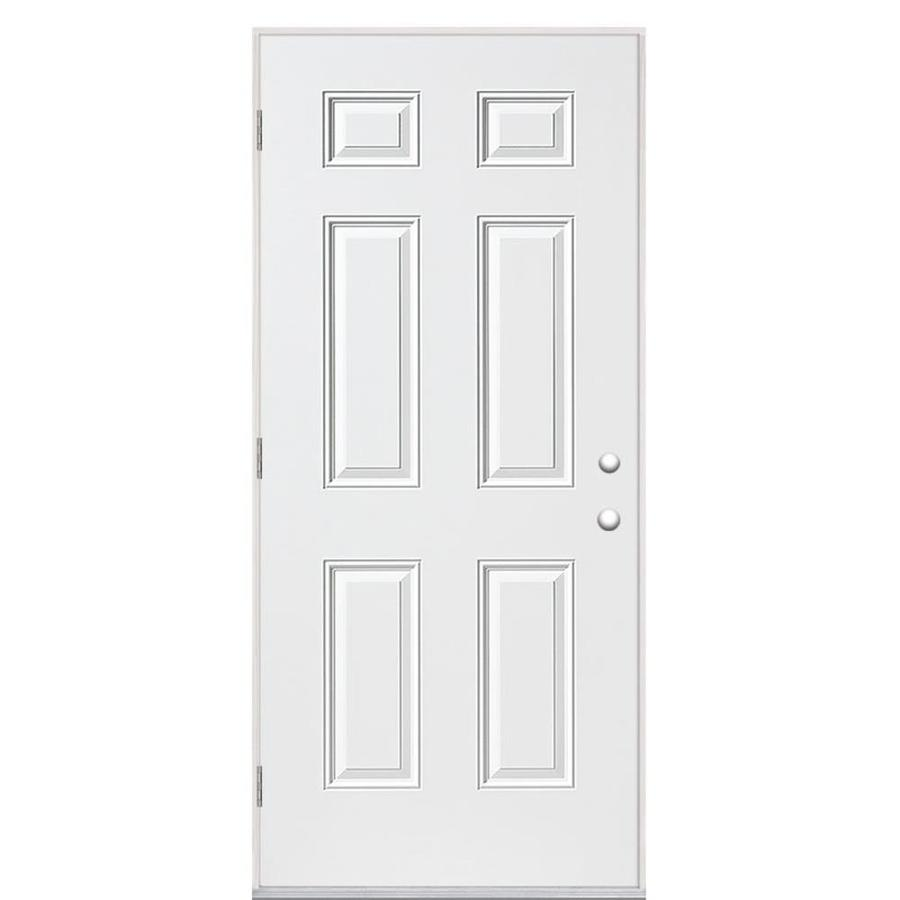Masonite 6-Panel Insulating Core Right-Hand Outswing Steel Primed Prehung Entry Door (Common: 32-in x 80-in; Actual: 33.5-in x 80.375-in)