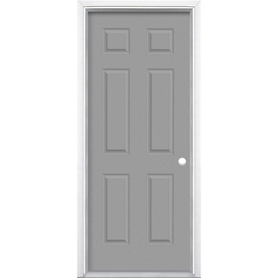 Shop masonite left hand inswing primed steel prehung entry for Exterior door insulation