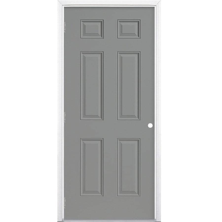 Masonite Right-Hand Outswing Primed Steel Prehung Entry Door with Insulating Core (Common: 32-in x 80-in; Actual: 33.5-in x 80.375-in)