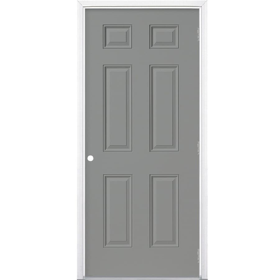 Shop Masonite Left Hand Outswing Primed Steel Prehung Entry Door With Insulating Core Common
