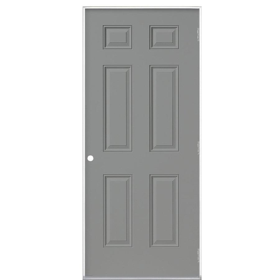 Masonite Left Hand Outswing Primed Steel Prehung Entry Door With Insulating  Core (Common: