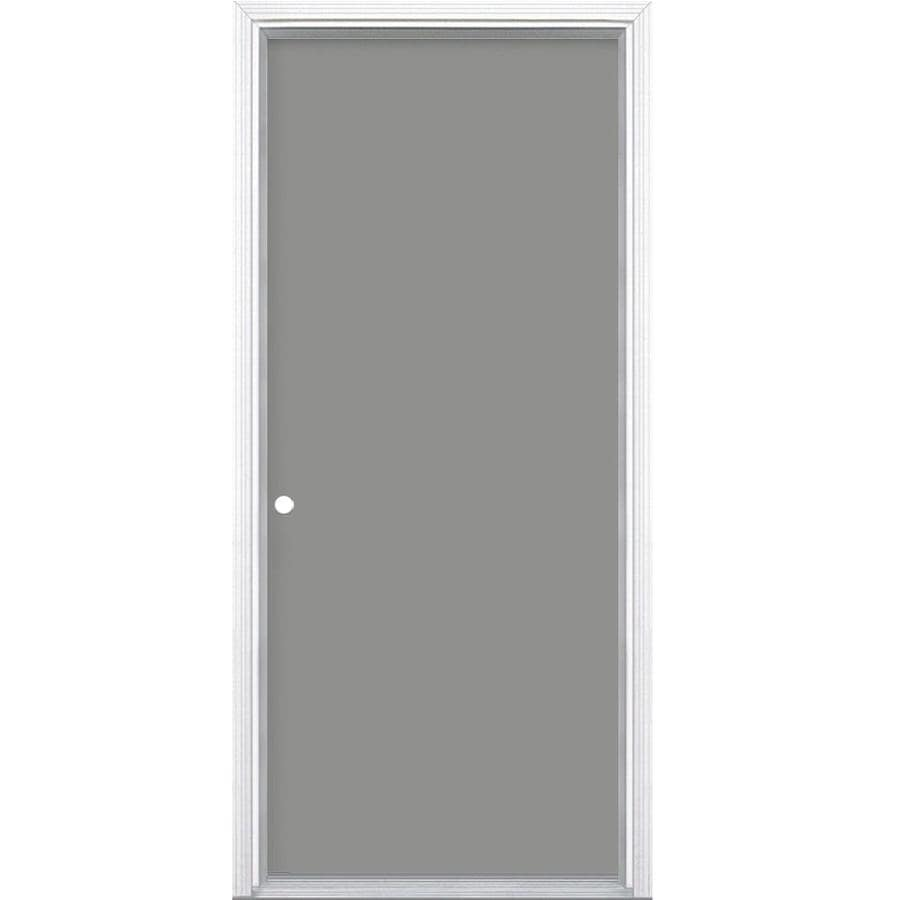Masonite Flush Insulating Core Right-Hand Inswing Steel Primed Prehung Entry Door (Common: 28-in x 80-in; Actual: 29.5-in x 81.5-in)