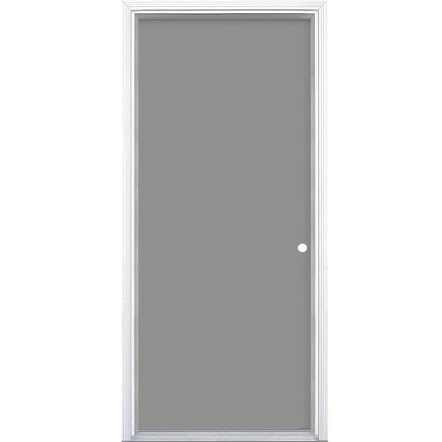 Masonite Decorative Glass Left-Hand Inswing Primed Steel Prehung Double Entry Door with Insulating Core (Common: 32-in x 80-in; Actual: 33.5-in x 81.625-in)