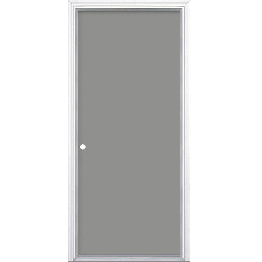 Shop Masonite Decorative Glass Right Hand Inswing Primed Steel Prehung Double Entry Door With