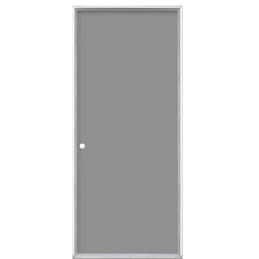 Masonite Right-Hand Inswing Primed Steel Prehung Entry Door Insulating Core (Common: 32-in X 80-in; Actual: 33.5-in x 81.625-in)