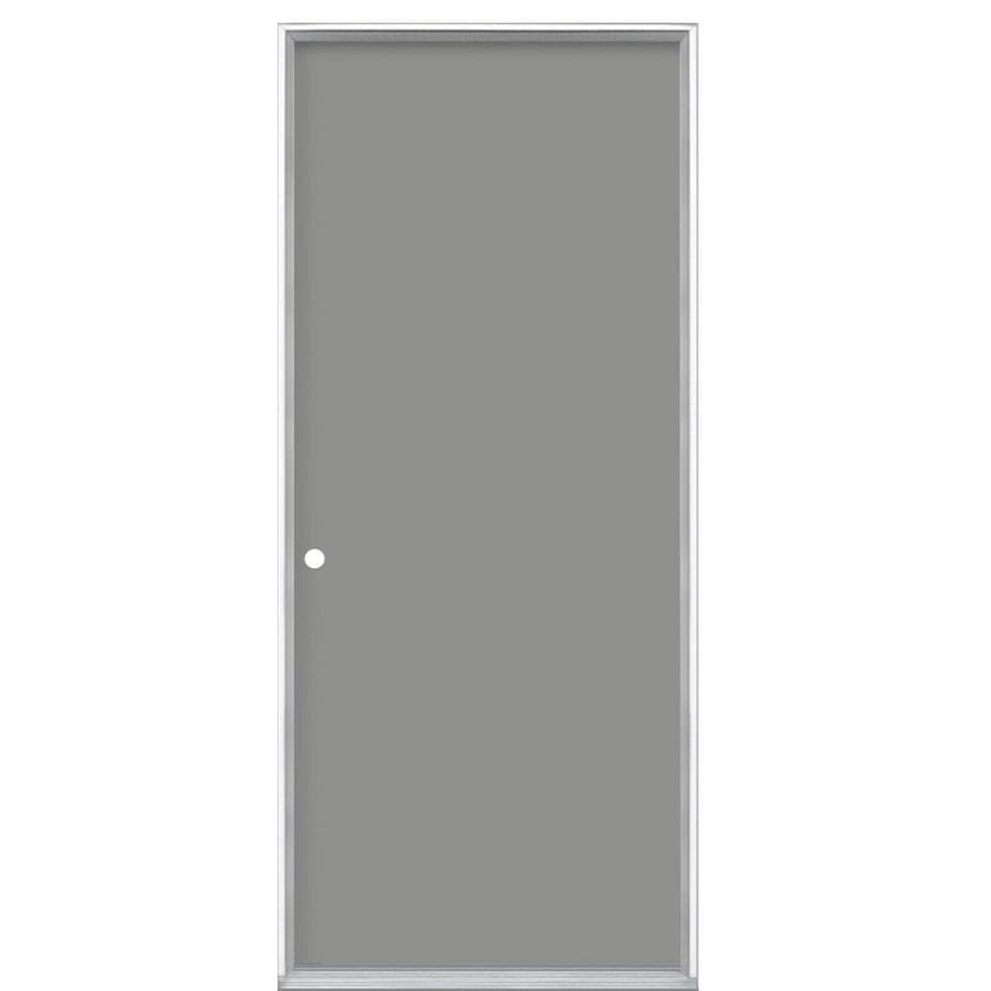 Shop masonite decorative glass right hand inswing primed for Double steel entry doors