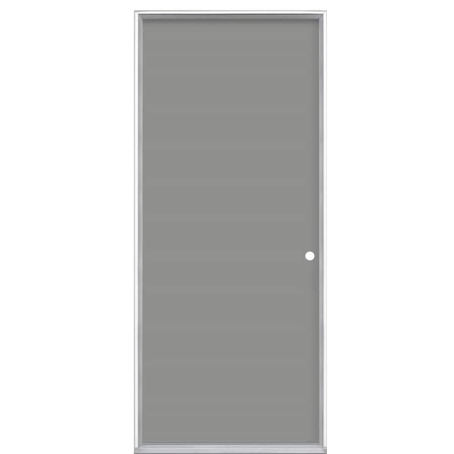 Masonite Flush Insulating Core Left-Hand Inswing Steel Primed Prehung Entry Door (Common: 36-in x 80-in; Actual: 37.5-in x 81.5-in)