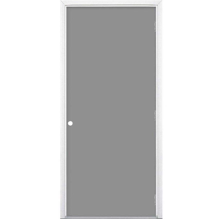Masonite Flush Insulating Core Left-Hand Outswing Steel Primed Prehung Entry Door (Common: 32-in x 80-in; Actual: 33.5000-in x 80.3750-in)