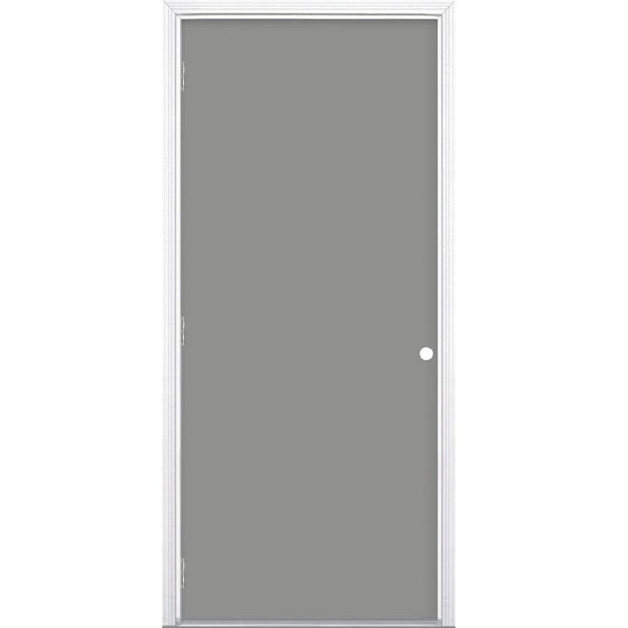 Masonite Decorative Glass Right-Hand Outswing Steel Primed Entry Door (Common: 36-in x 80-in; Actual: 37.5-in x 80.375-in)