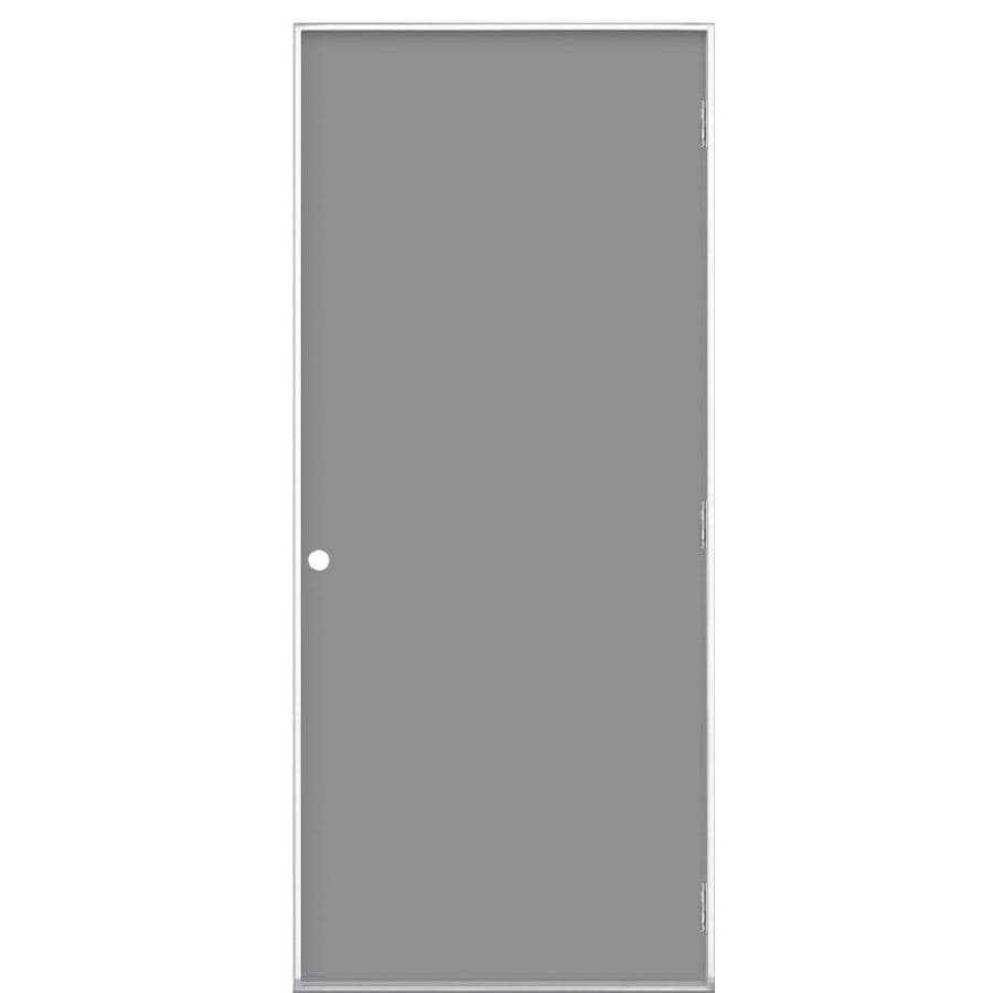 Masonite Decorative Glass Left-Hand Outswing Primed Steel Prehung Double Entry Door with Insulating Core (Common: 32-in x 80-in; Actual: 33.5-in x 80.375-in)