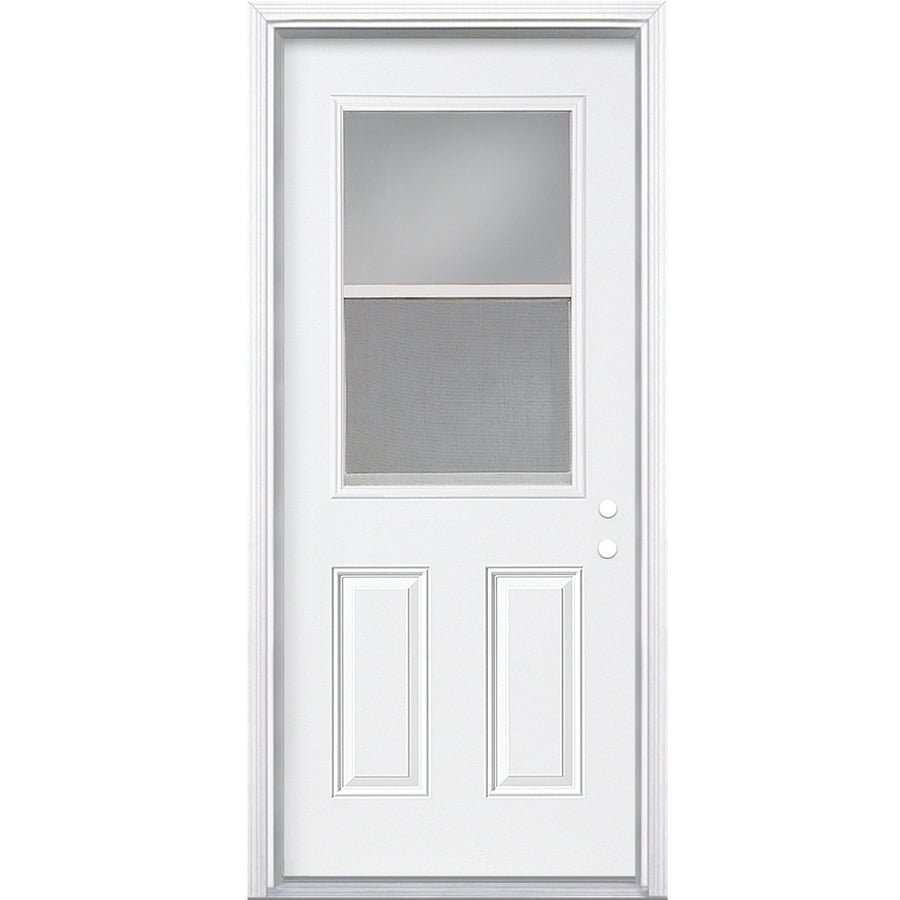 Masonite Decorative Glass Right-Hand Inswing Primed Steel Prehung Double Entry Door with Insulating Core (Common: 32-in x 74-in; Actual: 33.5-in x 75.5-in)