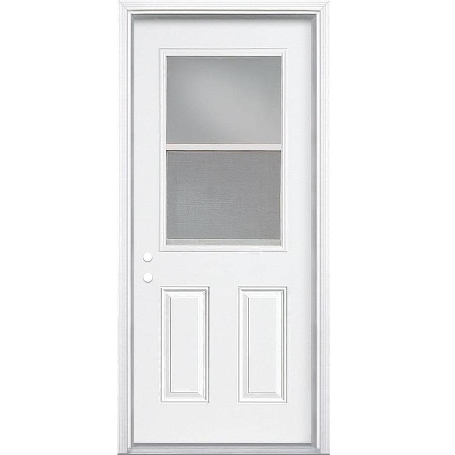 Masonite 2-panel Insulating Core Vented Glass With Screen Left-Hand Inswing Steel Primed Prehung Entry Door (Common: 32-in x 74-in; Actual: 33.5000-in x 75.5000-in)